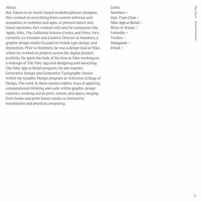 Roy Tatum – Design & Code