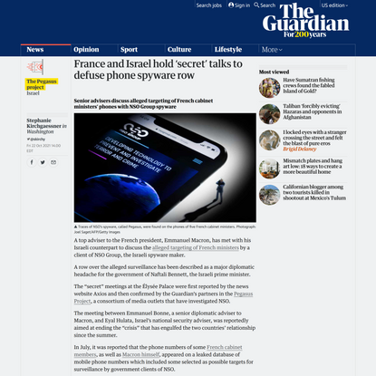 France and Israel hold 'secret' talks to defuse phone spyware row | Israel | The Guardian