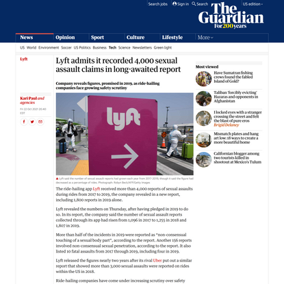 Lyft admits it recorded 4,000 sexual assault claims in long-awaited report | Lyft | The Guardian