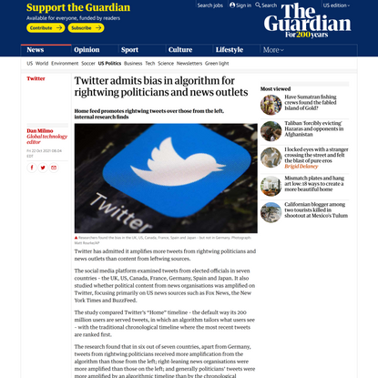 Twitter admits bias in algorithm for rightwing politicians and news outlets | Twitter | The Guardian
