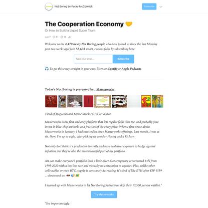 The Cooperation Economy 🤝