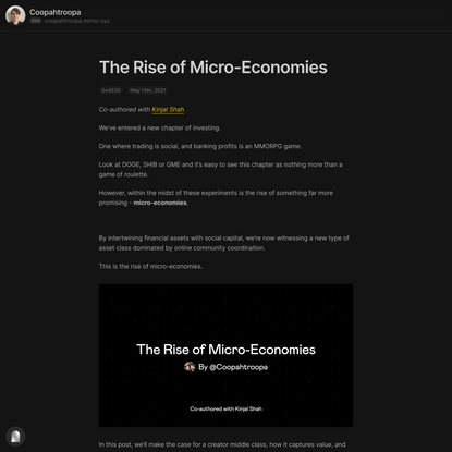 The Rise of Micro-Economies — Mirror