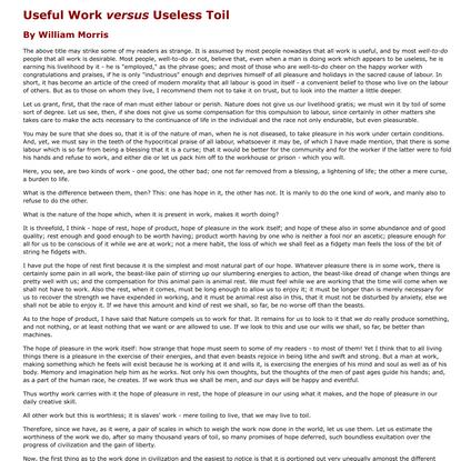 William Morris - Useful Work versus Useless Toil