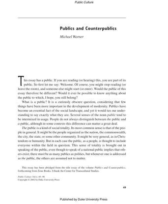 Publics and Counterpublics by Michael Warner