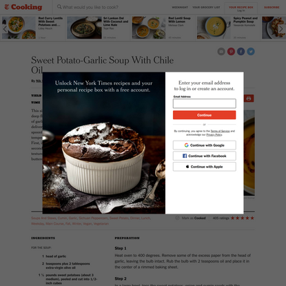 Sweet Potato-Garlic Soup With Chile Oil Recipe