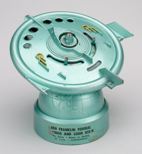"""""""Flying Saucer Bank"""" mechanical bank, Duro Mold and Manufacturing Inc., 1956, Minneapolis Institute of Art: Decorative Arts, Textiles and Sculpture"""