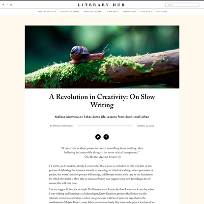 A Revolution in Creativity: On Slow Writing