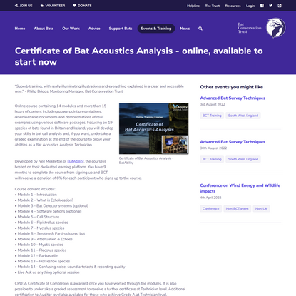 Certificate of Bat Acoustics Analysis - online, available to start now - Events - Bat Conservation Trust