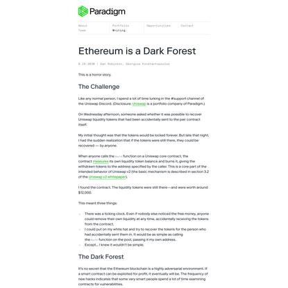 Ethereum is a Dark Forest - Paradigm