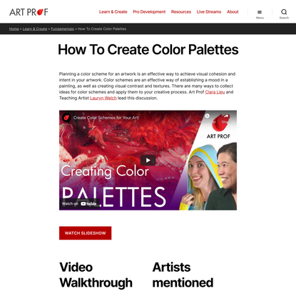 How To Create Color Palettes · Art Prof