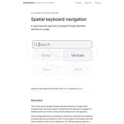 Spatial keyboard navigation