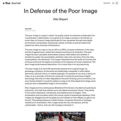 In Defense of the Poor Image - Journal #10 November 2009 - e-flux