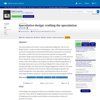 Speculative design: crafting the speculation