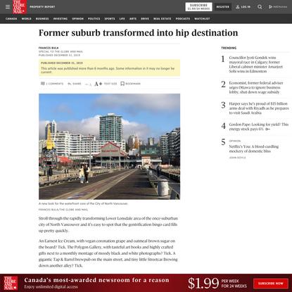 Former suburb transformed into hip destination