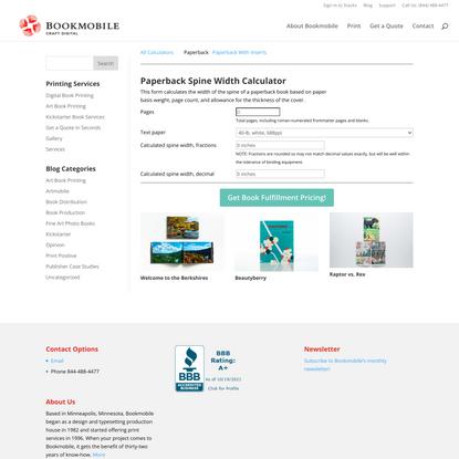 Book Spine Width Calculator for Paperbacks   Bookmobile