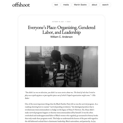 offshoot  –  Everyone's Place: Organizing, Gendered Labor, and Leadership