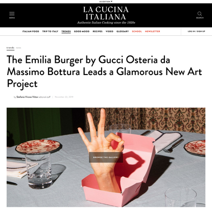 The Emilia Burger by Gucci Osteria da Massimo Bottura Leads The New Glamorous Art Project