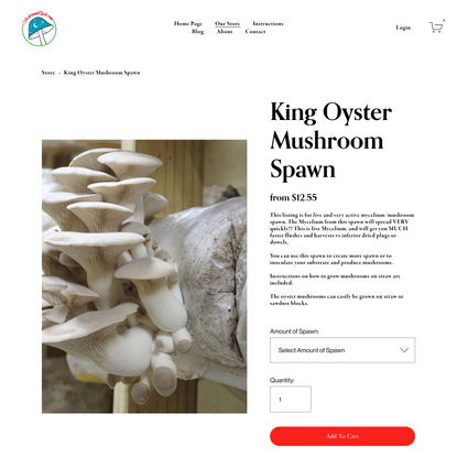 King Oyster Mushroom Spawn — Welcome