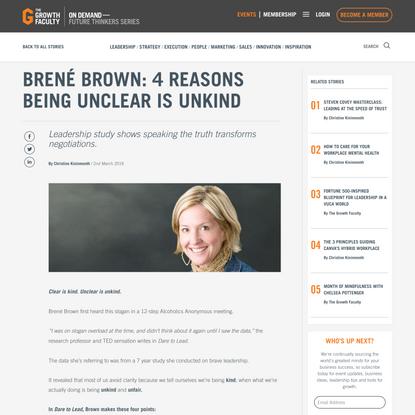 Brené Brown: 4 reasons being Unclear is Unkind