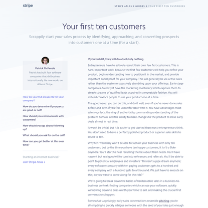 Stripe Atlas: Getting Your First 10 Customers