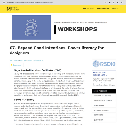 07- Beyond Good Intentions: Power literacy for designers
