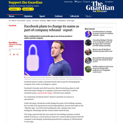 Facebook plans to change its name as part of company rebrand – report | Facebook | The Guardian