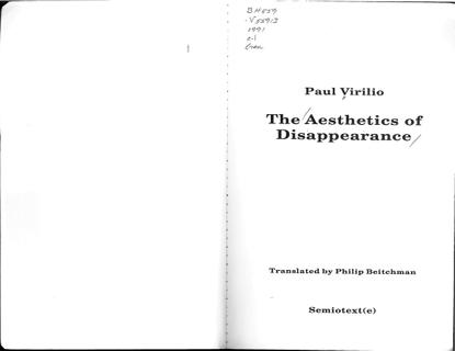 Virilio, Paul_The Aesthetics of Disappearance (1991)