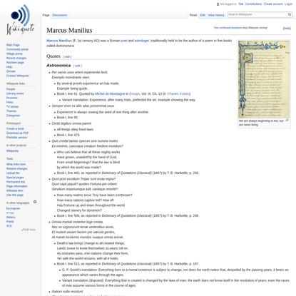 Marcus Manilius - Wikiquote