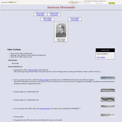 John Gorham, born 18 Nov 1820, died 26 Jun 1898