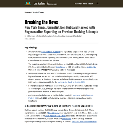 Breaking the News: New York Times Journalist Ben Hubbard Hacked with Pegasus after Reporting on Previous Hacking Attempts - ...