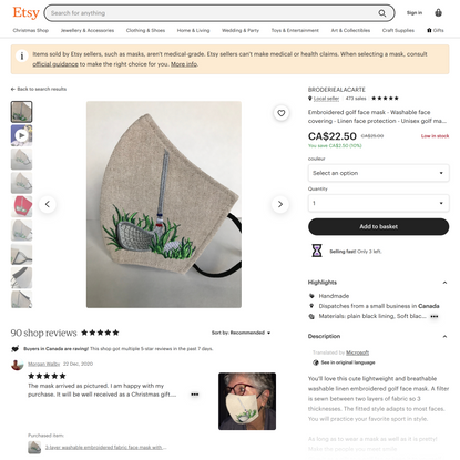 Embroidered Golf Face Mask Washable Face Covering Linen   Etsy