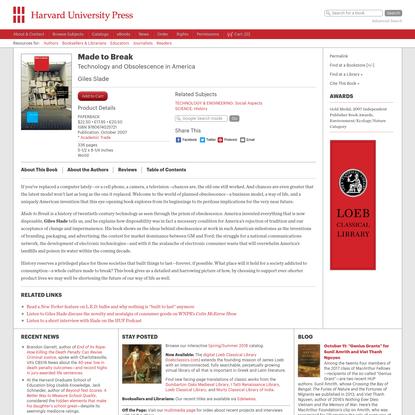Made to Break - Giles Slade | Harvard University Press