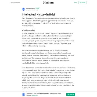 Intellectual History in Brief - Nadia Rodinskaya - Medium