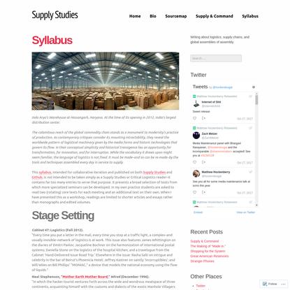 Supply Studies Syllabus