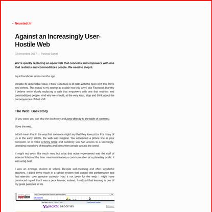 Against an Increasingly User-Hostile Web - Neustadt.fr