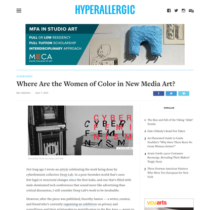 Where Are the Women of Color in New Media Art?