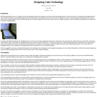 Designing Calm Technology