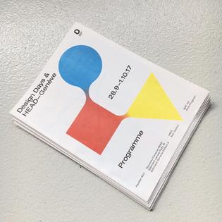 Newspaper / program designed for @headgeneve during the @designdays_ch #typography #graphicdesign #editorialdesign #newsprint #printedmatter #print #layout #bauhausfusion #bauhaus #theoryofformsandcolors