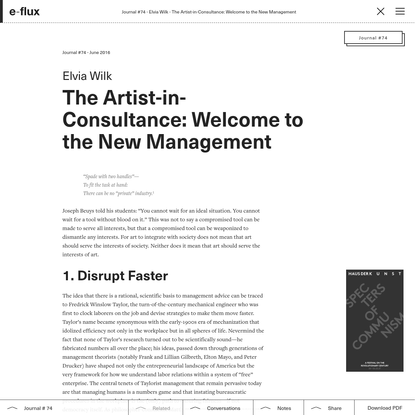 The Artist-in-Consultance: Welcome to the New Management - Journal #74 June 2016 - e-flux