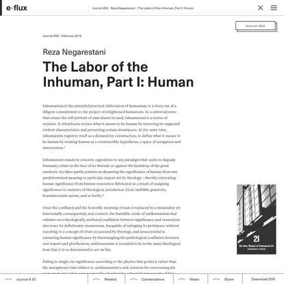 The Labor of the Inhuman, Part I: Human