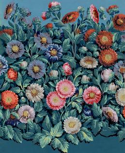 Papier à motif répétitif de dense parterre fleuri de reines-marguerites - R. Bon (Paris) - 1799