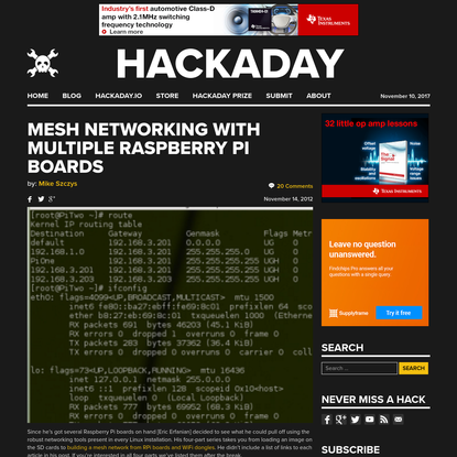 Mesh networking with multiple Raspberry Pi boards
