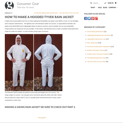 How to Make a Hooded Tyvek Rain Jacket
