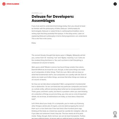 Deleuze for Developers: Assemblages * Steve Klabnik
