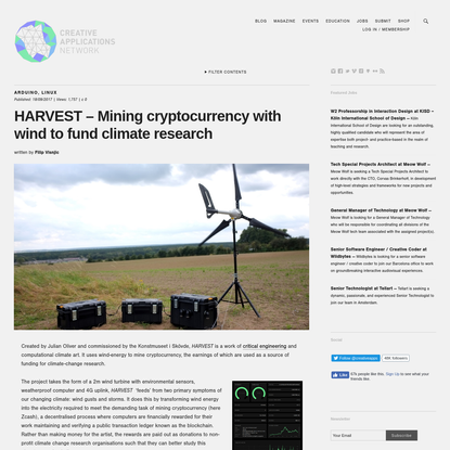 HARVEST - Mining cryptocurrency with wind to fund climate research