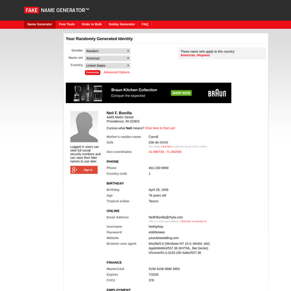 Get a whole new identity at the Fake Name Generator