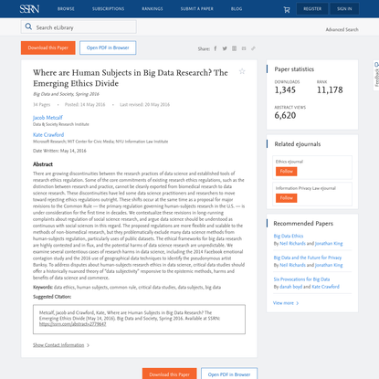 Where are Human Subjects in Big Data Research? The Emerging Ethics Divide by Jacob Metcalf, Kate Crawford :: SSRN