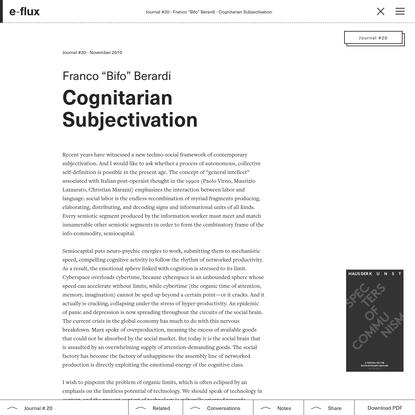 Cognitarian Subjectivation