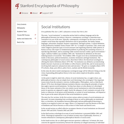 Social Institutions (Stanford Encyclopedia of Philosophy)