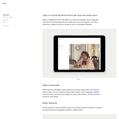 Index is a minimal WordPress theme with clean and simple layout. - Index